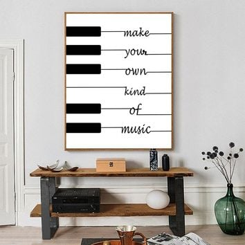 Simple Style Canvas Print Painting Poster Of White Black Piano Keys,Inspirational Wall Art Picture for Home Decoration,No Frame