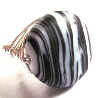 Wire Wrap Ring Striped Black White Fashion Jewelry