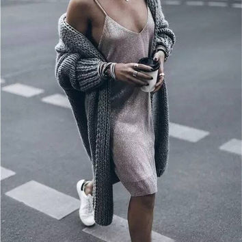 Grey Chunky Cardigan Sweater