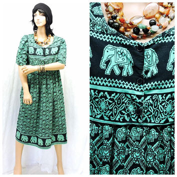 hippie kaftan tunic dress / S /M / vintage 80s elephant print dress / boho ethnic Indie caftan dress / cotton muu muu dress SunnyBohoVintage