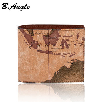 2016 stars war message fashion vintage world map men wallets purses designer wallets famous brand in PVC
