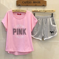 "Women Fashion ""pink"" Print Short sleeve Top Shorts Pants Sweatpants Set Two-Piece Sportswear"