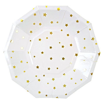 Toot Sweet Gold Stars Small Paper Plates by Meri Meri - Modern and Chic Christmas & New Years Eve Party Gold Foil Plate Little Star