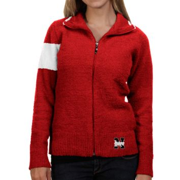 Nebraska Cornhuskers Ladies Scarlet-White Motorcycle Full Zip Jacket