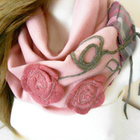 Pink Scarf - Fleece Scarf - Powder Pink Scarf - Soft Scarf - Patchwork Scarf - Pink Fleece Scarf - Scarves Pink - Winter Accessories
