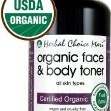 Herbal Choice Mari Organic Face & Body Skin Toner for pH Balance 200ml/ 6.8oz Spray