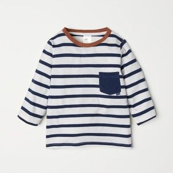 Jersey Shirt - White/blue striped - Kids | H&M US