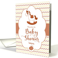 Thanksgiving Baby Shower Invitation with Rocking Horse card