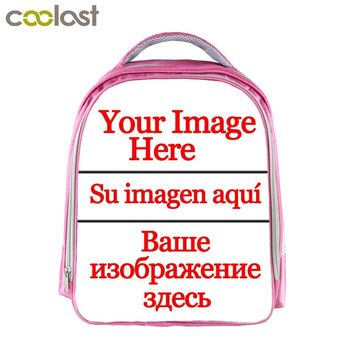 Customized Your Image logo Name Children School Bags For Girls 13 Inch Cartoon School Backpack Pink Kindergarten Bag