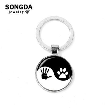 SONGDA Black White Yin Yang Key Chain Best Friend Dog Paw & Baby Hand Print Glass Cabochon Purse Bag Pendant Tai Chi Key Ring