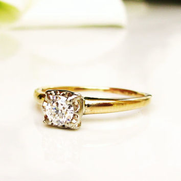 Vintage Engagement Ring 0.25ct Illusion Set Diamond Wedding Ring 14K Two Tone Gold Ring Size 5