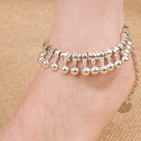 Retro personality metal droplets coin tassel anklets