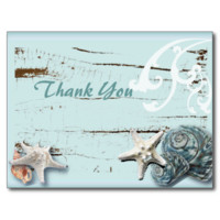 BLue Seashells Beach Wedding thank you Postcards