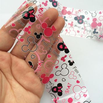 1Roll Foil Nail Art Sticker Fall in Love Mickey Mouse Stick On Nails For Manicure Transfer Nail Accessories