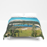 Lake reflections Duvet Cover by Sylvia Cook Photography