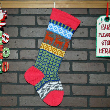 Hand Knit Christmas Stocking, Fair Isle Knit Stocking with Pink Cuff, Orange Reindeer and Grey Ivy, can be personalized, Housewarming Gift