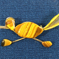 Art Deco Tiger Eye Roadrunner Pin New Mexico State Bird Modern Vintage 1960s 1970s Yellow Gold Artisan Crafted Gemstone Figural Collectible