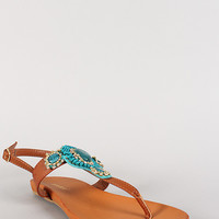 Bamboo Beaded T-Strap Footbed Flat Sandal