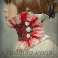 SALE 50 off Felted scarfcollar Fujisan SALESALESALE by RudmanArt