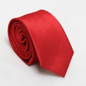 men's slim ties red neck skinny tie solid narrow neckties 6cm width