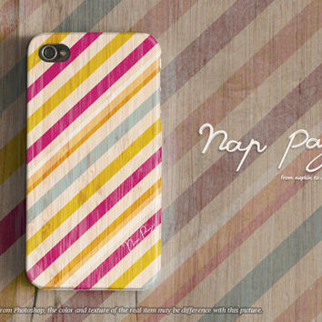 Apple iphone case for iphone iphone 5 iphone 4 iphone 4s iPhone 3Gs  : yellow and pink stripe line pattern on wood (not real wood)