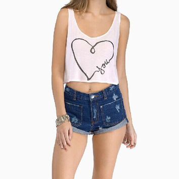 Hand-painted heart-shaped printing vest XQ63072