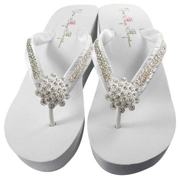 Bridal Flip Flops Wedge Rhinestone Jewel Diamond Flower Bling Satin Jewel Bride Wedding Ribbon Bow, Great for brides, bridesmaids