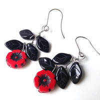 Black and Red Poppy Flower Red Poppy Earrings. Red Flower Jewelry. Czech Red Jewelry.