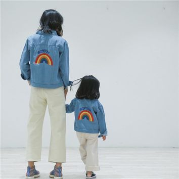 Trendy Family Clothing Baby Girls Denim Jackets Coats Rainbow Embroidery Fashion Children Outwear Coat Kids Girls Boys Casual Jacket AT_94_13