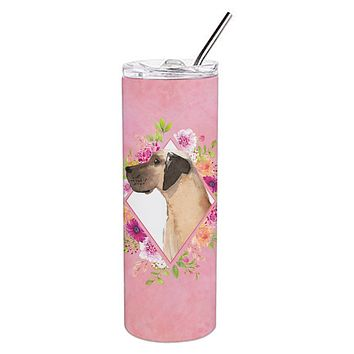 Fawn Great Dane Pink Flowers Double Walled Stainless Steel 20 oz Skinny Tumbler CK4234TBL20