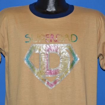 70s Super Dad Glitter Iron On Ringer t-shirt Large
