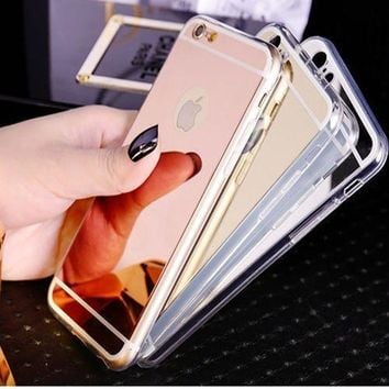 Luxury Ultra Thin Soft Silicone Mirror Gel Case Cover iPhone SE 5S 6 6S 6 7 Plus