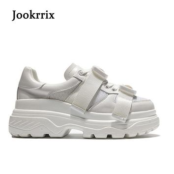 Jookrrix New Spring Fashion Lady Casual White Shoes Women Sneaker Black Leisure Heighten Platform Shoe Soft Cross-tied All Match