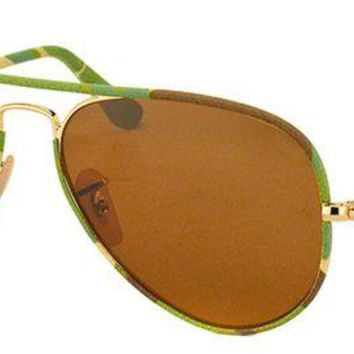 Gotopfashion Ray Ban Aviator Full Color RB 3025JM 169 Brown Green Camo Sunglasses Brown 58mm