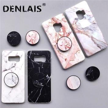Marble Case For Samsung Galaxy S7 Edge S8 Plus Case Fashion Grip Stand Holder Silicone Phone Case For Samsung S8 S9 Plus Note 8