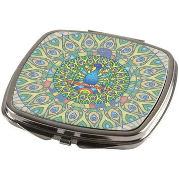 CREYCY8 Mandala Trippy Stained Glass Peacock Compact