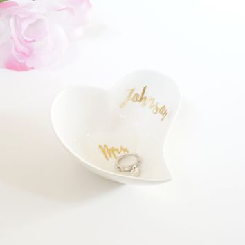 Custom Ceramic White and Gold Foil Small Jewelry Holder Heart Dish Unique Personalized Wedding Gift