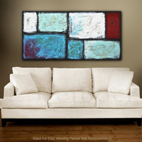 Abstract art minimalist painting 24 x 48 textures original modern acrylic art blue red white landscape abstract