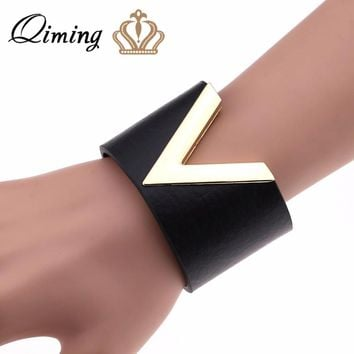 QIMING Black Leather Bracelet Femme Bangles Gothic Jewelry Metal V Letter Punk Style Wide Friendship Bracelets Women Bangle