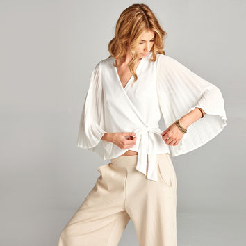 Pleated Sleeve Wrap Blouse