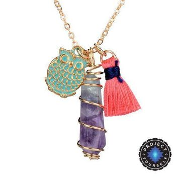 Boho Wire Twisted Natural Gemstone Dangle Tassel and Charm Pendant Necklace