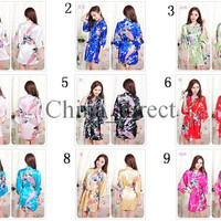 2015 summer Female Solid plain rayon silk short Robe Pajama Lingerie Nightdress Kimono Gown pjs Sexy Women Dress bathrobe 13 colors #3795