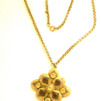 Vintage Geometric Necklace by Sarah Coventry Gold Tone with Round Rhinestones