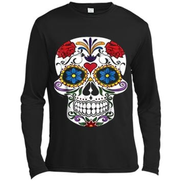 Fashion Sugar Skull Flower Death Day Of The Dead  Long Sleeve Moisture Absorbing Shirt