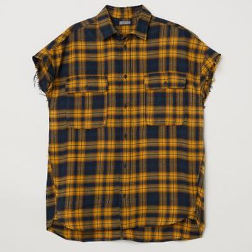 Short-sleeved Flannel Shirt - Yellow - Men | H&M US