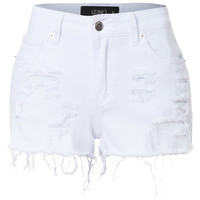 LE3NO Womens Stretchy Medium Rise Ripped Denim Jean Shorts with Pockets