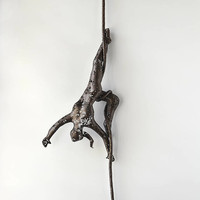 Acrobat sculpture, Female sculpture, wire mesh sculpture, Metal sculpture, metal wall art,  Acrobat on aerial rope
