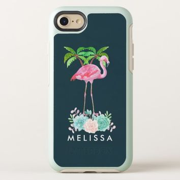 Pink Flamingo Palm trees and Floral Succulents OtterBox Symmetry iPhone 8/7 Case