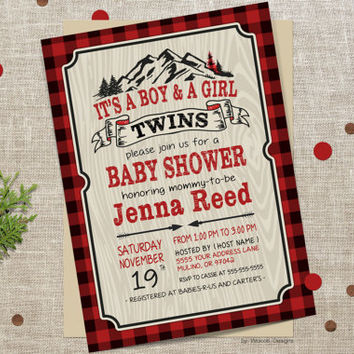Baby shower invitation for twins, twins baby shower, baby shower invitation, lumberjack shower, lumberjack baby, buffalo plaid, twins