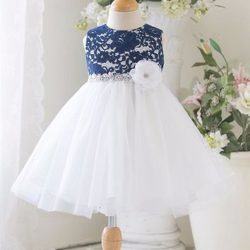 New Flower Girl Lace Dress Wedding Pageant Patchwork Christmas Costume Princess Girls Sleeveless Lace Christening Gown Dresses